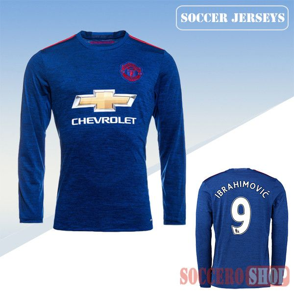 486d51c42 Latest Manchester United Blue 2016 2017 Away Long Sleeve Soccer Jersey With Ibrahimovic  9 Printing Replica Bargain From China