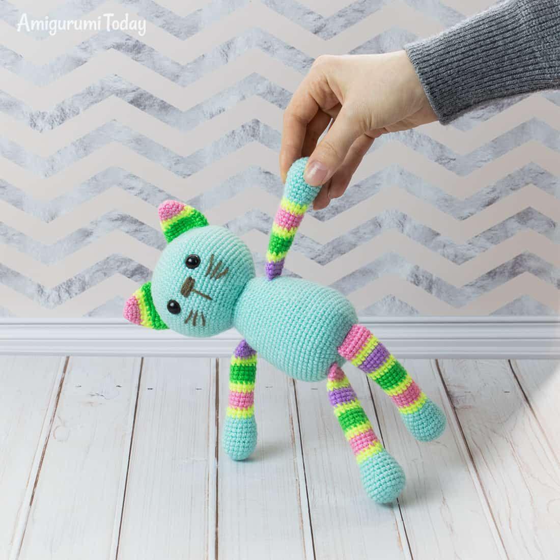 Stripy Cat Amigurumi Pattern Crochet Cat Pattern Beginner