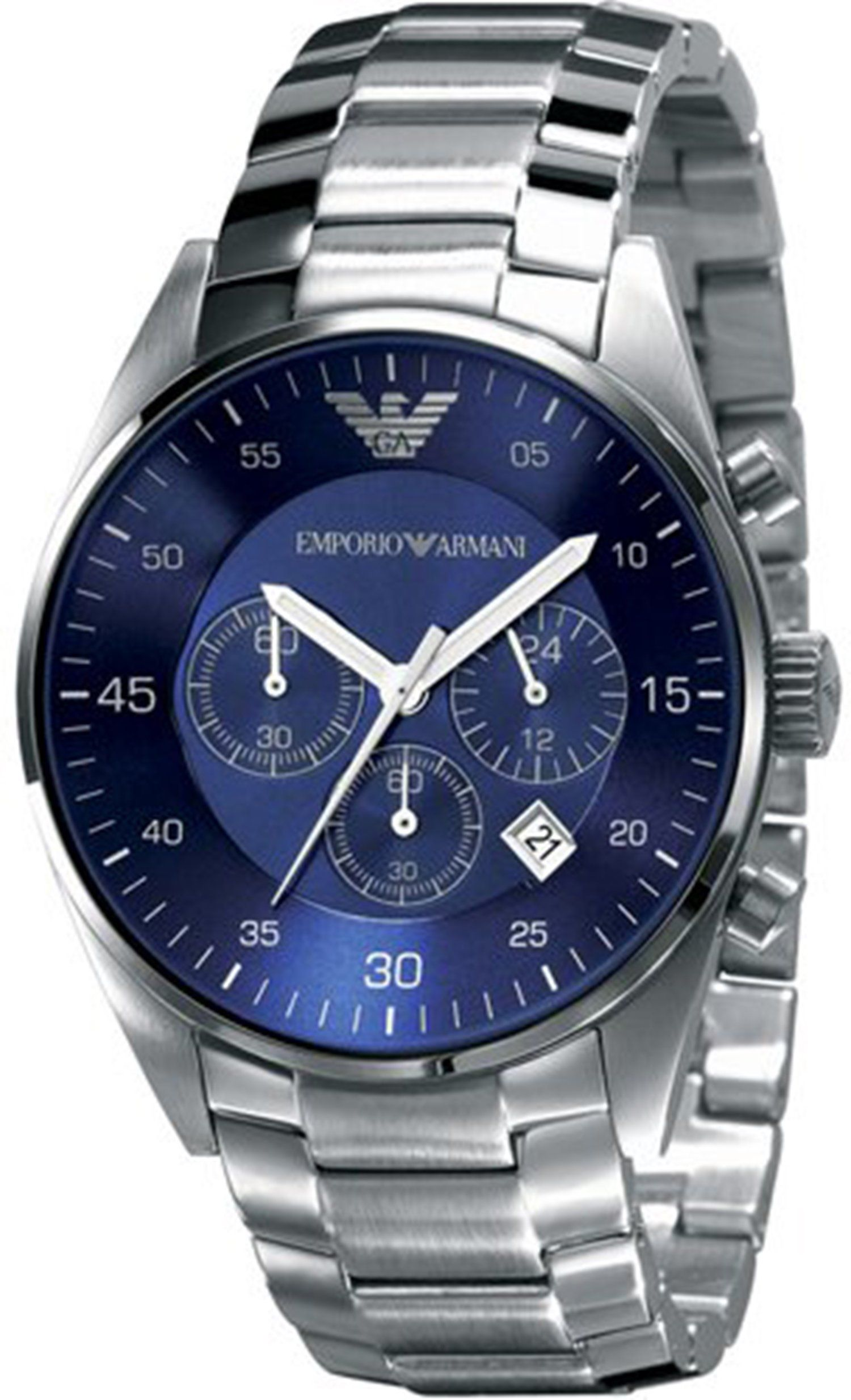 526413ca040 Emporio Armani Men s AR5860 Silver Stainless-Steel Quartz Watch with Blue  Dial