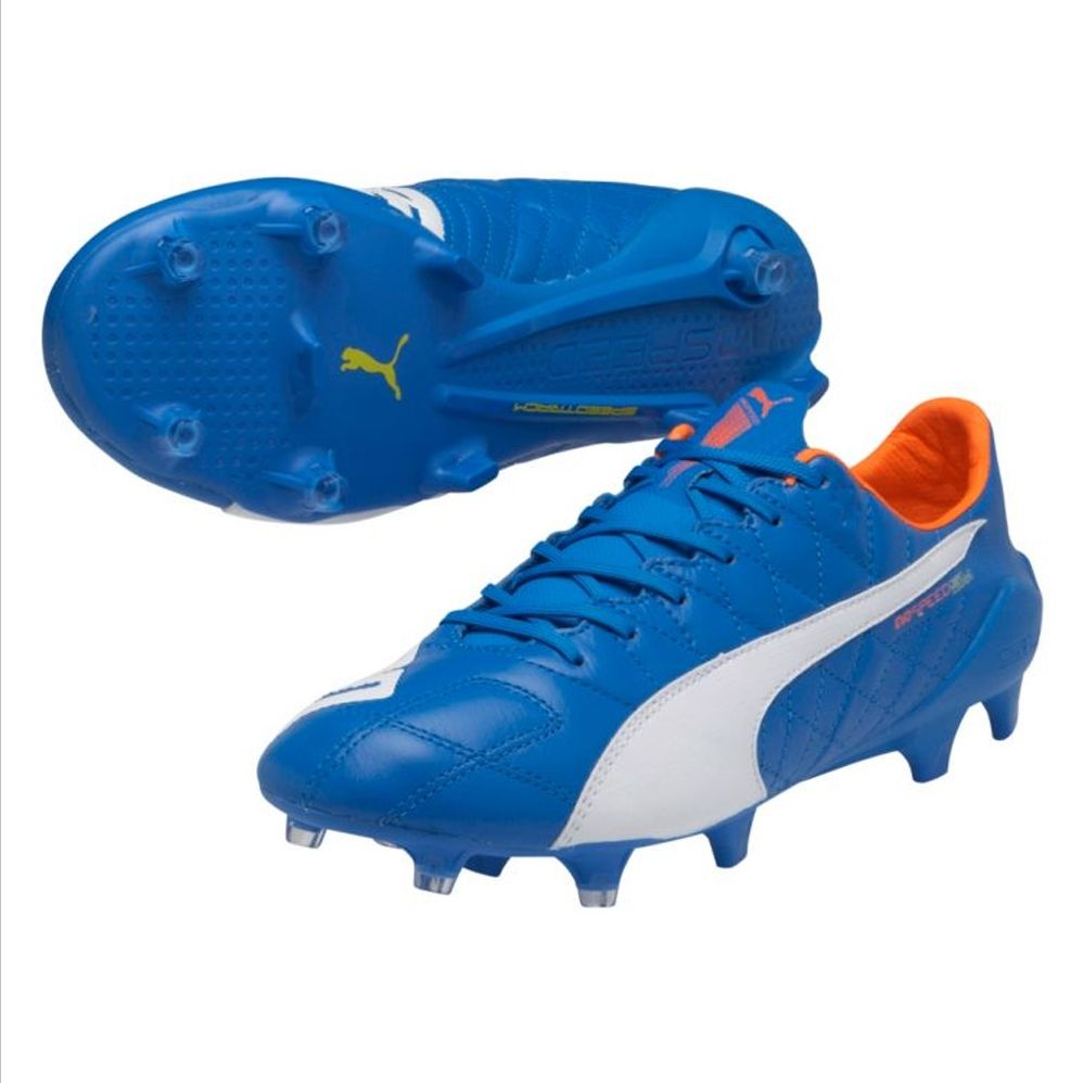 d8ff552cb857 ... new style sale 154.95 puma evospeed sl leather fg soccer cleats  electric blue lemonade soccer cleats
