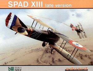 The Eduard 1/48 SPAD XIII Late plastic aircraft model accurately recreates the real life British biplane fighter used during World War I. This plastic aircraft kit requires paint and glue to complete.