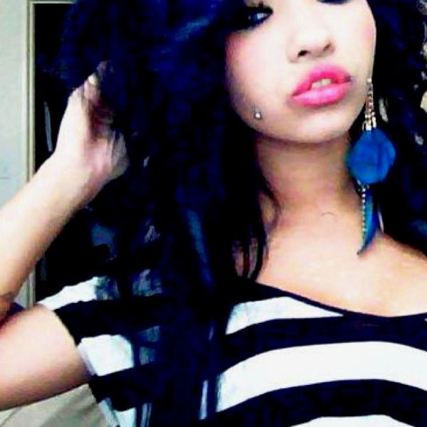 I M Feeling A Hair Color Change Coming On Jet Black With Blue Tint Is An Option And Hot Pink Lips White Striped Shirt