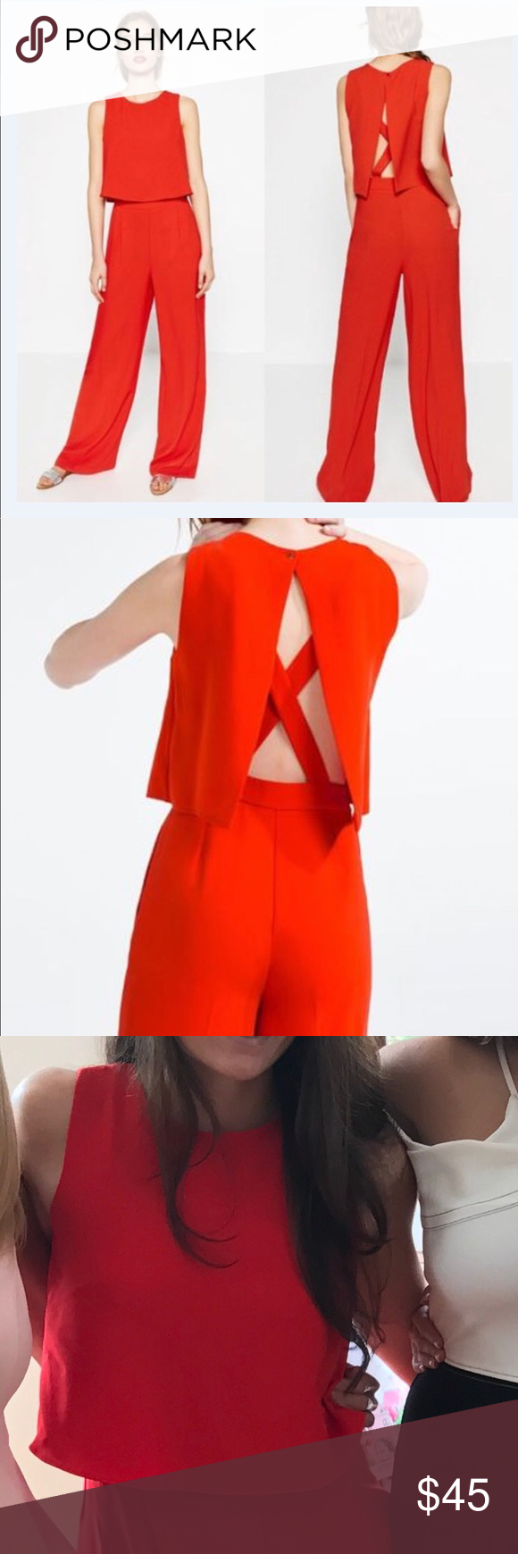42820d7366 Zara Cross Back Red Jumpsuit Perfect Condition ! Zara Pants Jumpsuits    Rompers
