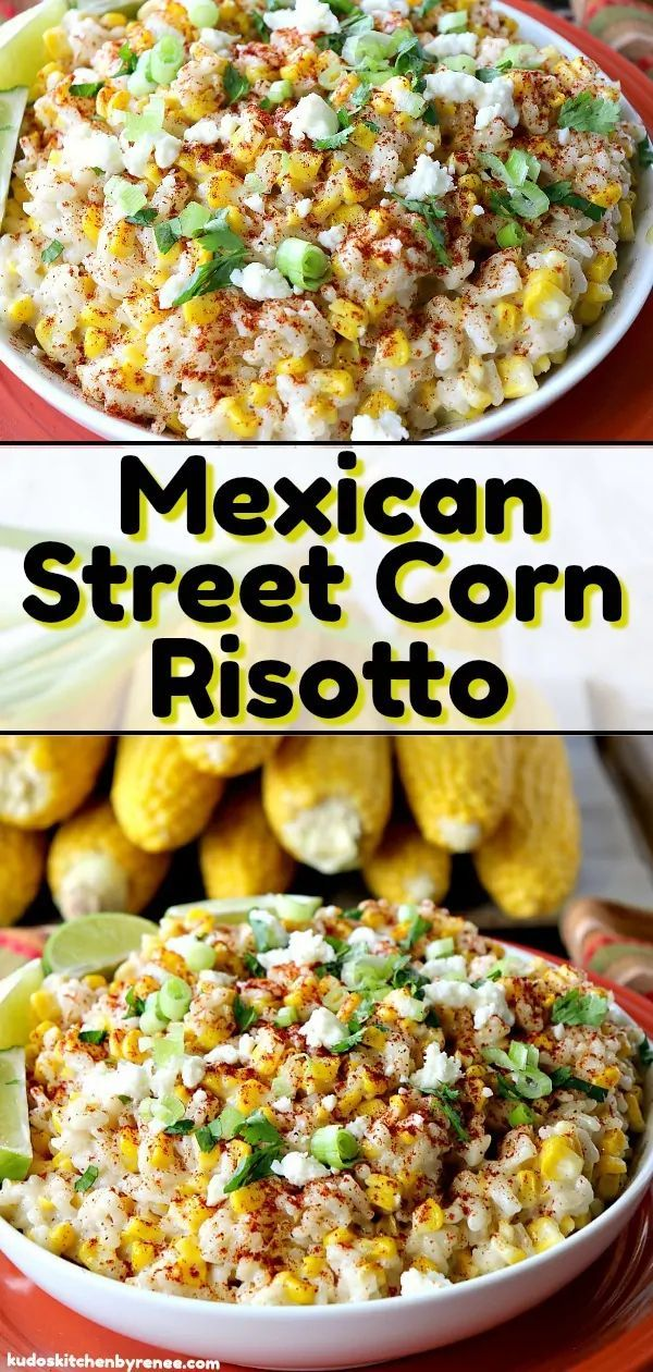 If you love Mexican street corn (and who doesn't), it's time to think outside the husk with this Mexican Street Corn Risotto.  #sweetcorn #mexicanstreetcorn #risotto #sweetcornrisotto #elote #eloterositto #sidedish #bbqsidedish #thanksgivingsidedish #tacosidedishes
