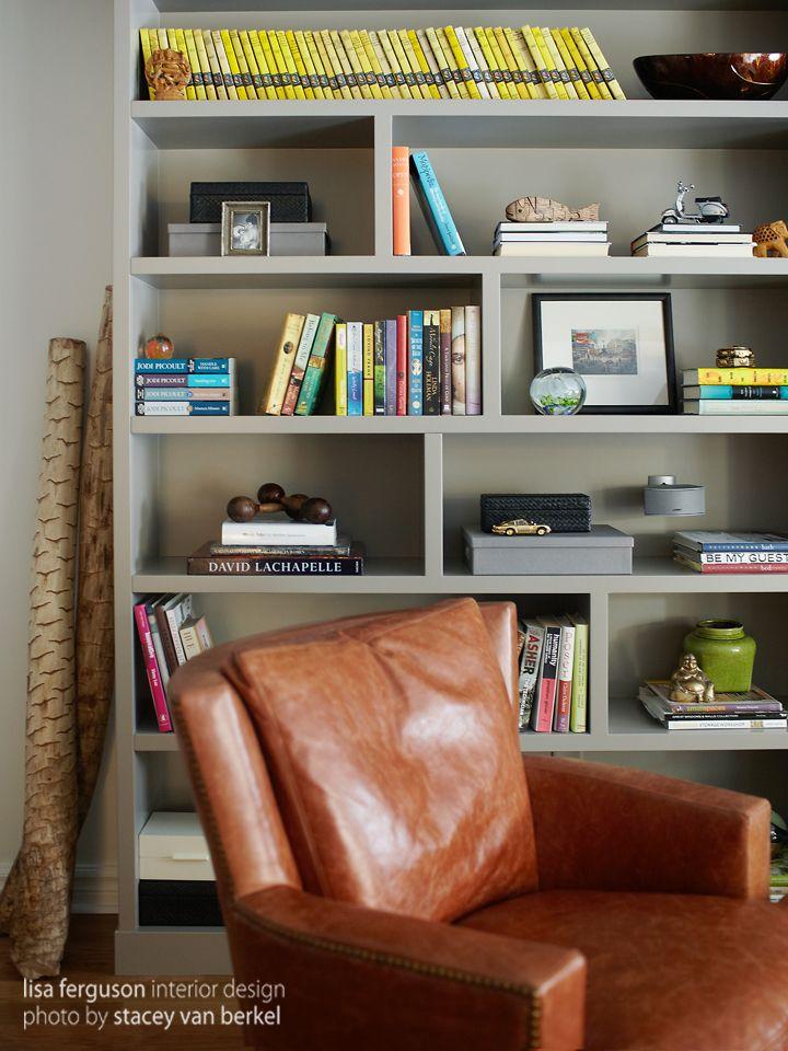 Family Room Built in bookshelves custom Lisa Ferguson