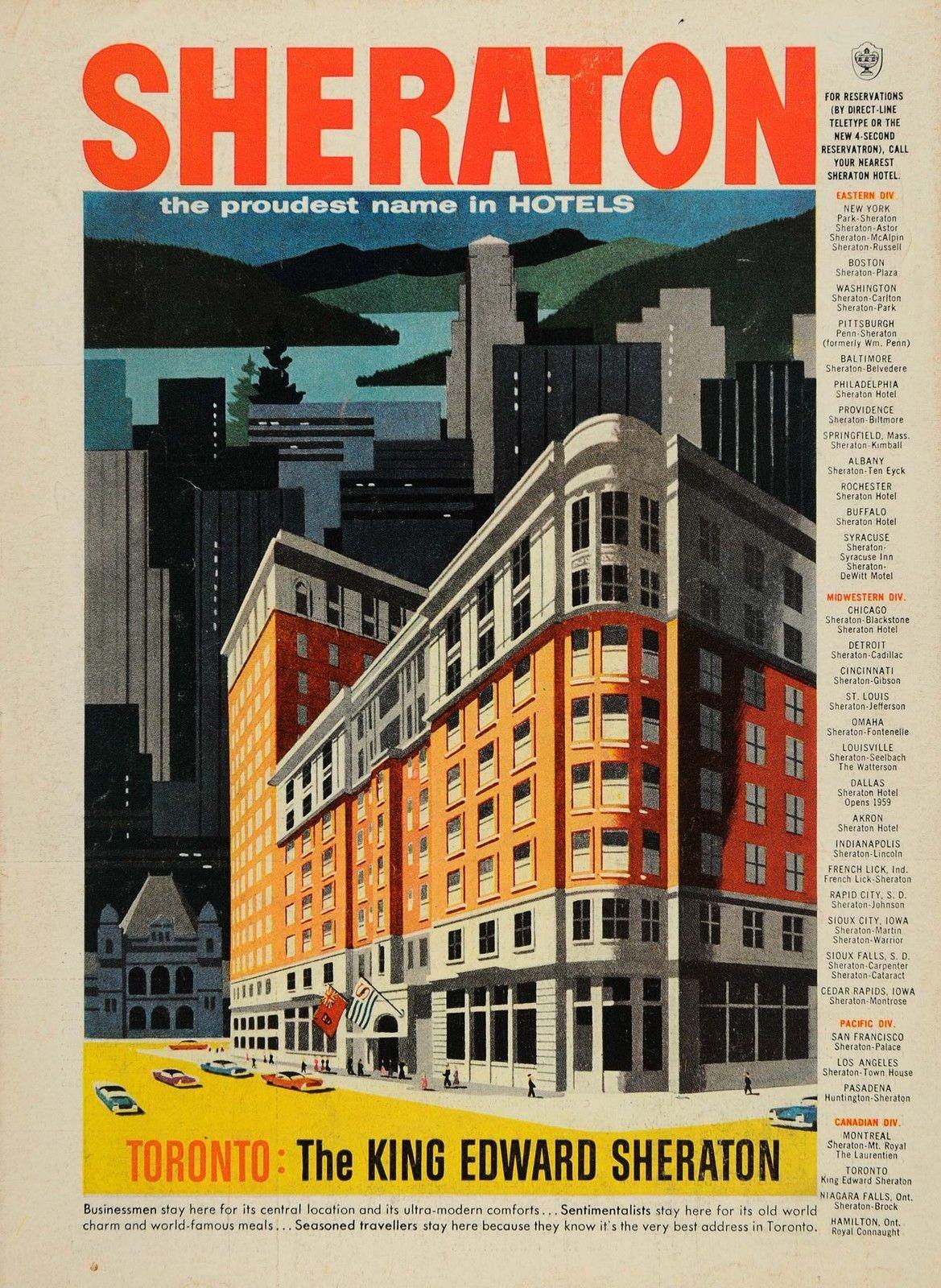 Niagara Falls Vintage Print Ad 1957 Sheraton Brock