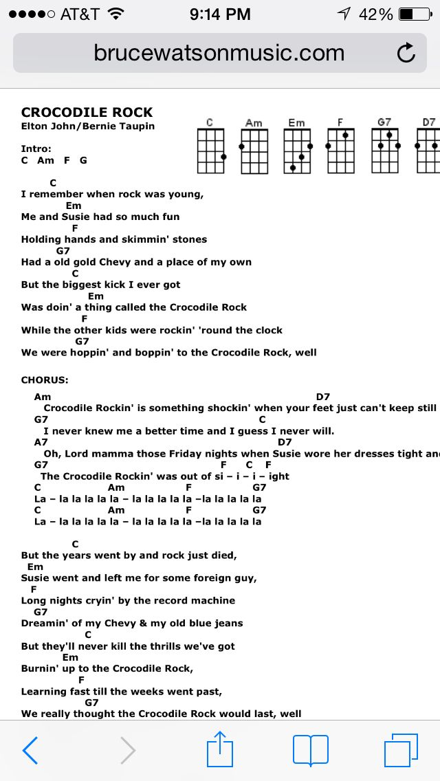 Crocodile Rock Uke Chords Uke Songs Pinterest Rock Songs And