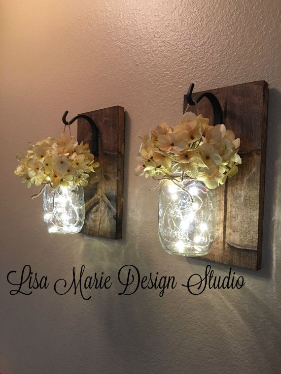wall sconce set of two hanging mason jar sconces mason jar decor home decor gift lighted mason jars farmhouse decor