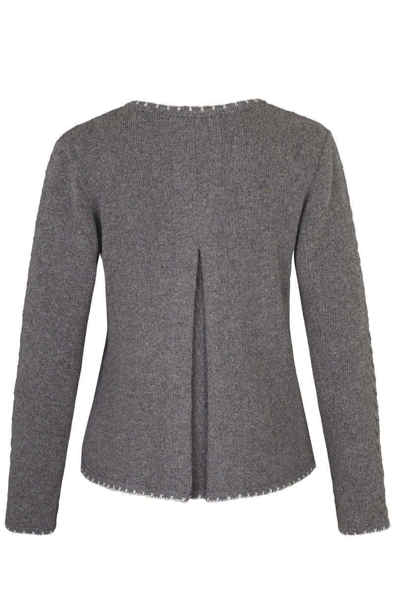 Trachten Pullover mit Zopfmuster und Falte anthrazit Bild 3