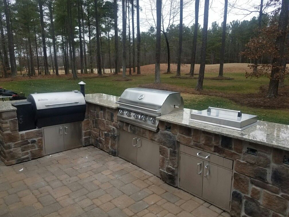 Project Complete Traeger Smoker And Grill Outdoor Kitchen Our Awesome Outdoor Kitchen Charcoal Grill Decorating Design