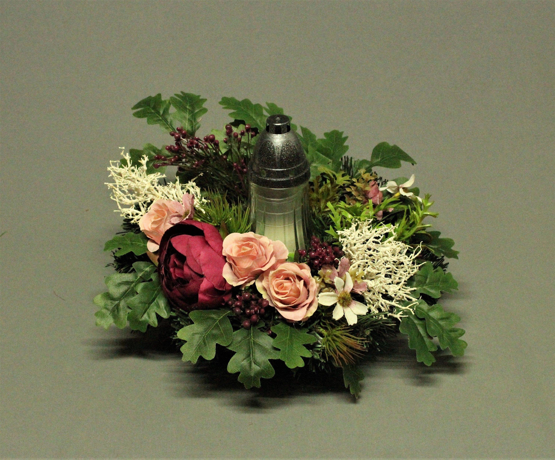 Dekoracja Nagrobna Znicz Kwiaty Sztuczne Dekoracja Na Etsy Home Decor Vase Decor