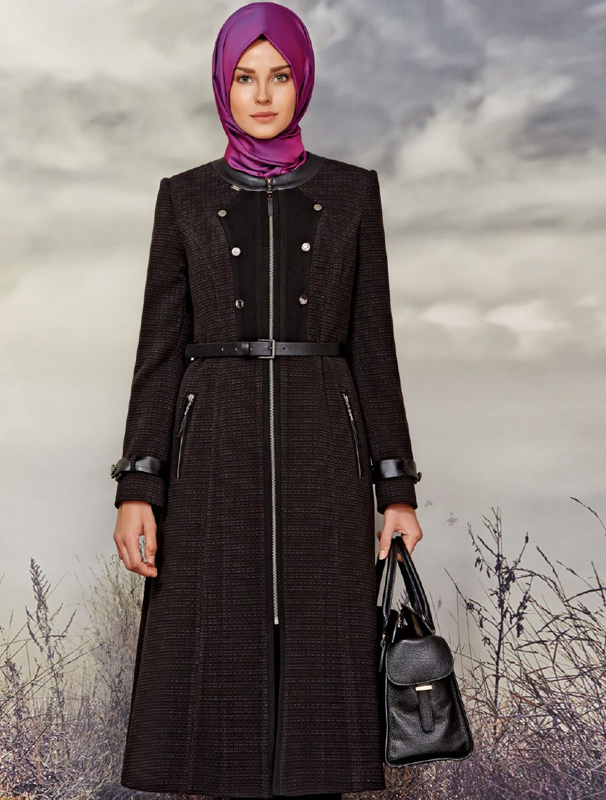 Zuhre Tesettur Pardesu Esarp Uzun Elbise Sonbahar Kis Koleksiyon Alisveris Magaza Dresses Overcoats Scarf
