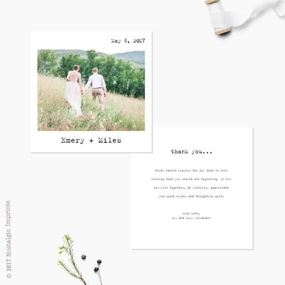 Wedding Thank You Cards with Photo, 5.25x5.25, Thank You Notes, Custom personalized stationery - the Emery #businessthankyoucards