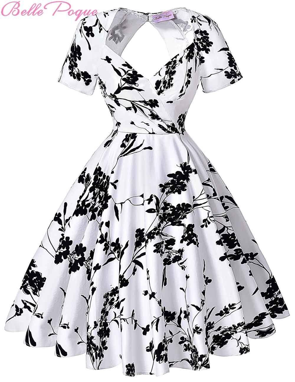 Short sleeve floral print s vintage dresses retro swing pinup