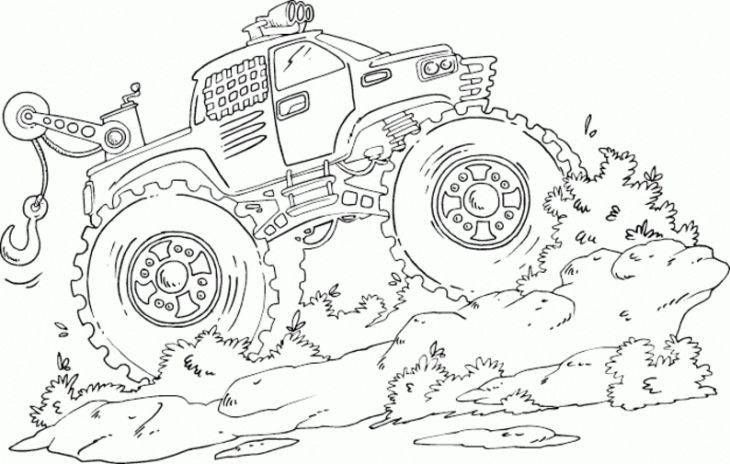 Monster Tow Truck Crushing Muddy Road Coloring Page | Transportation ...