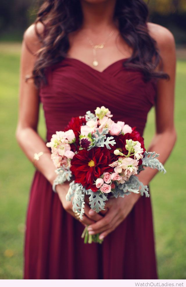 Burgundy bridesmaid dress and gold necklace | Bouquet ...