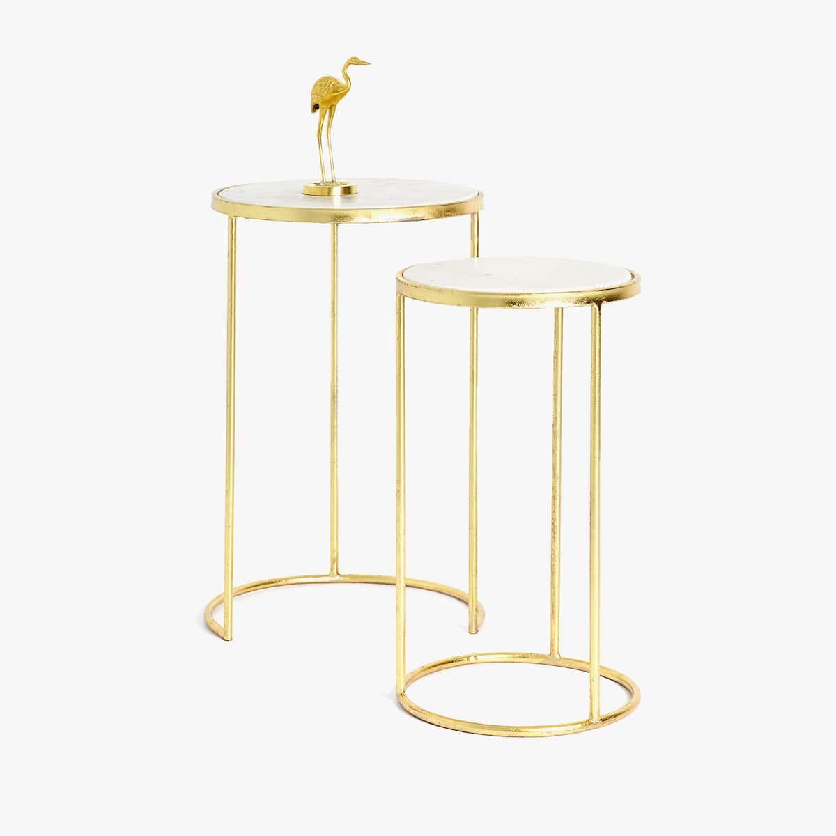 Bild 2 Des Produktes Hoher Marmortisch In Gold Doppelset Marmortisch Tisch Zara Home