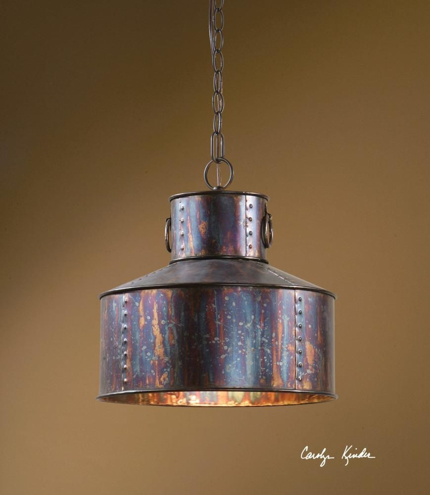 One light oxidized bronze down pendant qz brose electric
