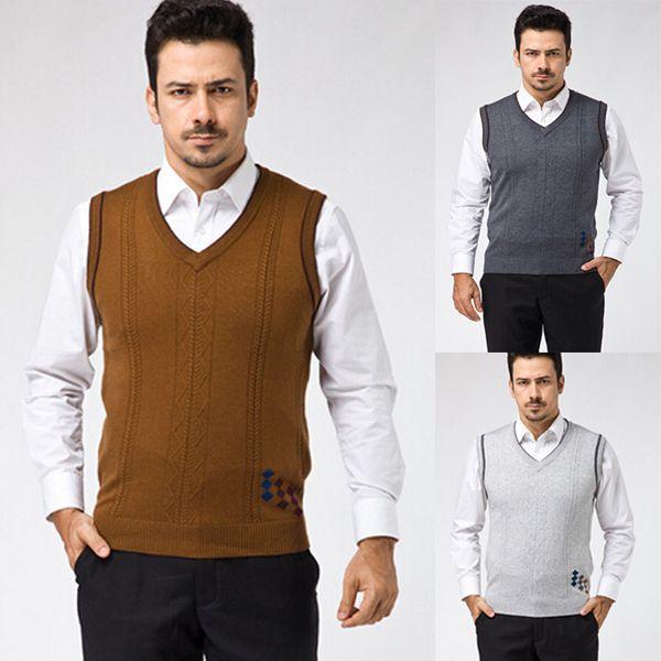 Men's Fashion Wool V-Neck Sleeveless Vest Patterns Knittting ...