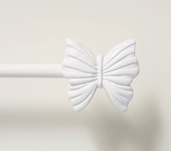 White Butterfly Finial Window Hardware With Images Childrens