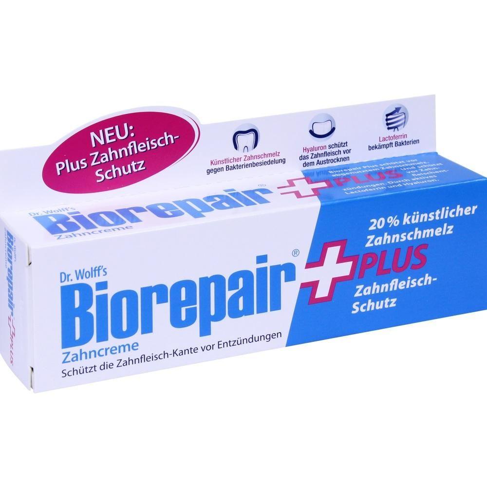 BIOREPAIR Zahncreme plus:   Packungsinhalt: 75 ml Zahnpasta PZN: 11089196 Hersteller: Dr. Kurt Wolff GmbH & Co. KG Preis: 4,48 EUR inkl.…