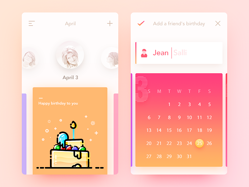 Birthday Card App Design Pinterest Ui Inspiration Ui Ux And