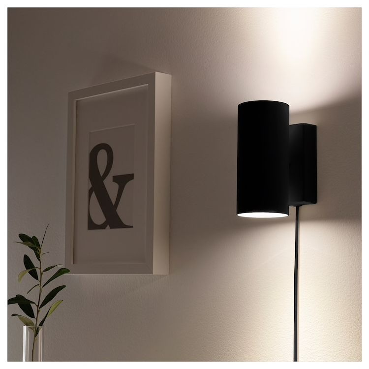 Nymane Wall Up Downlight Anthracite Ikea Downlights Plug In Wall Lights Wall Lights Bedroom