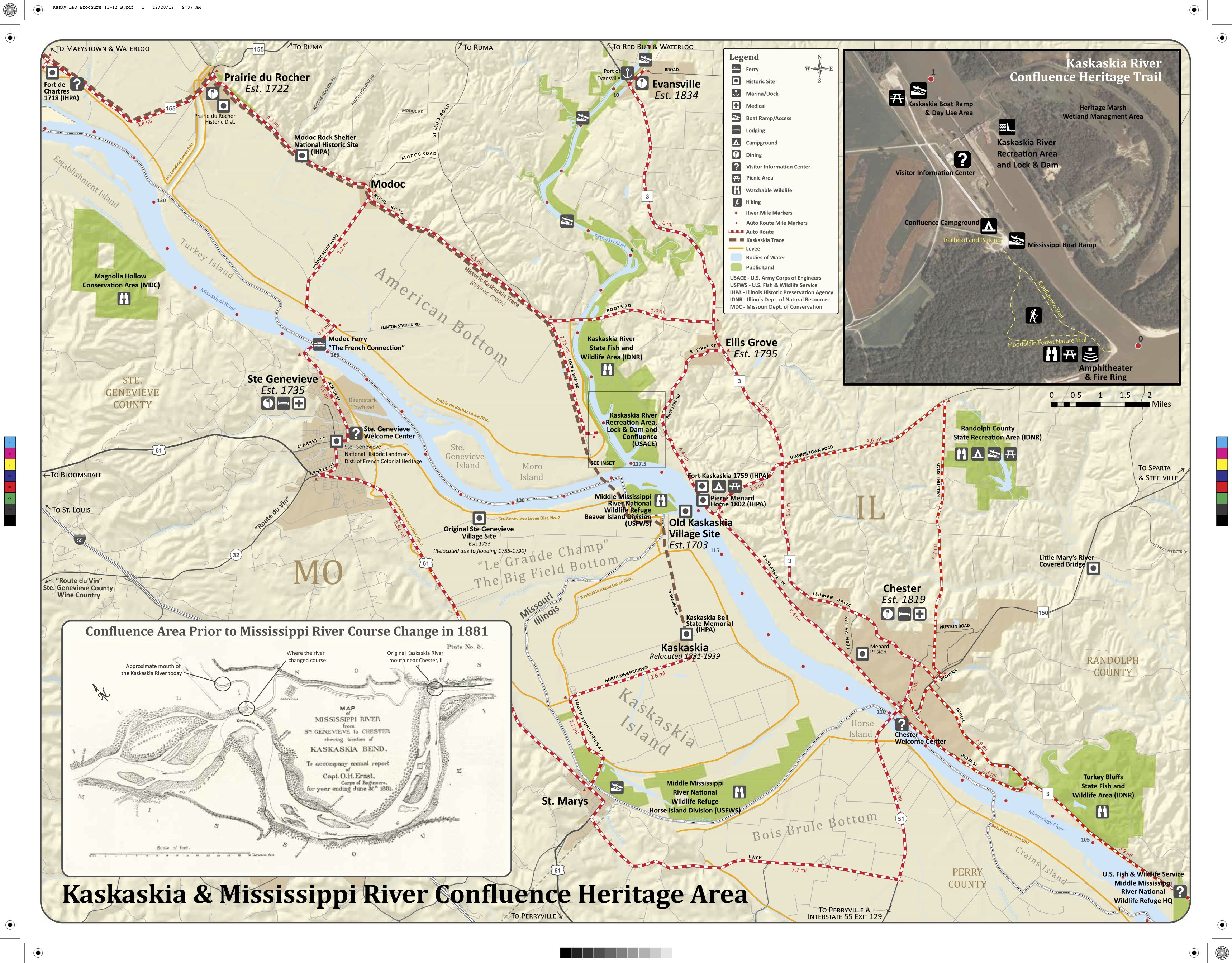 A map of the Confluence Heritage Area at the Jerry F. Costello Lock ...