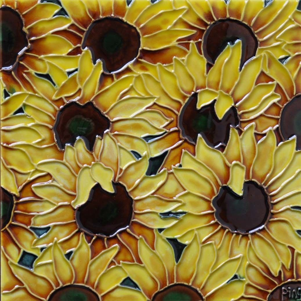 Multi Sunflowers Tile Wall Decor   Sunflowers, Graphic art and Products