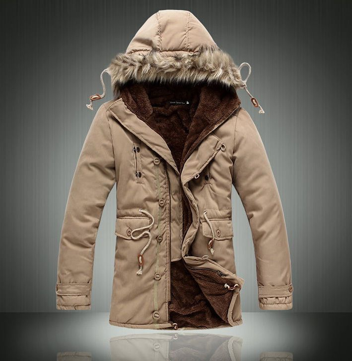 Men's Warm Winter Coat Thicken Hooded Parka Overcoat Long Jacket Outwear NEW