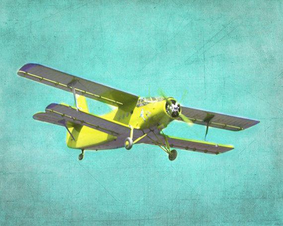 Vintage Airplane Wall Art vintage airplane art print - nursery biplane aqua yellow boy room