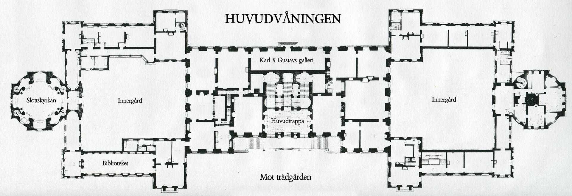 Drottningholm palace the floor plan main ground floor for Palace floor plans