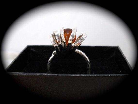 Twisted Amber Ring size 8 1/2 by brightcreations on Etsy, $50.00