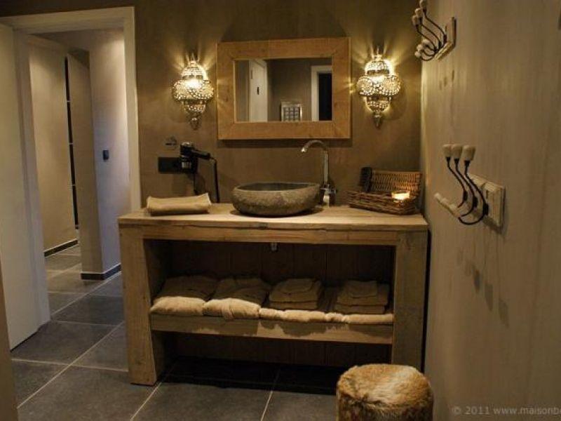 Badmeubel van mooi steigerhout debbie pinterest for Zelf maken badkamermeubel