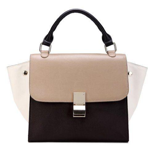 IUHA Genuine Smooth Leather Trapeze Baguette Bag Multicolor Tote Bag Purse