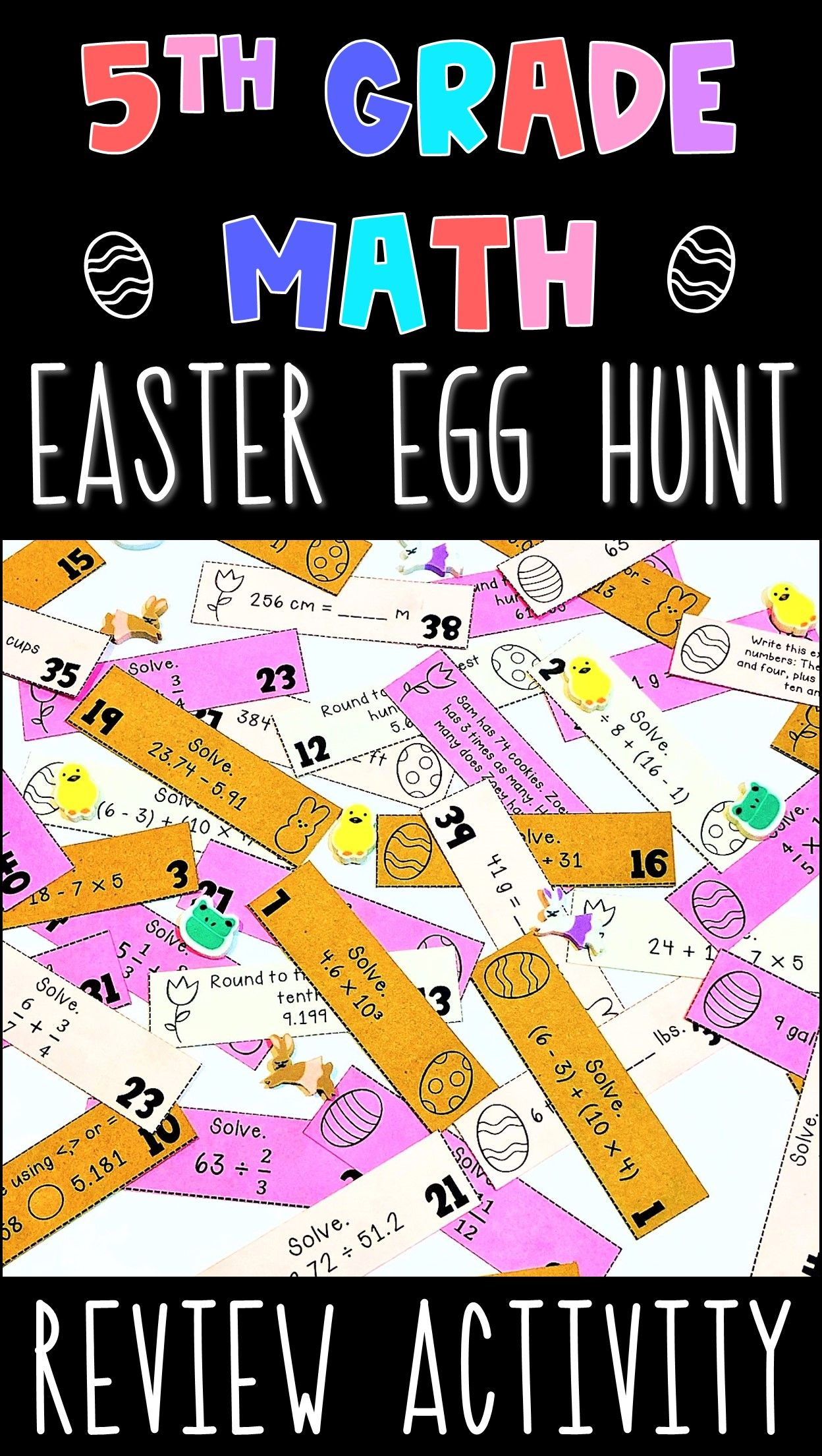 5th Grade Math Easter Egg Hunt Review Editable