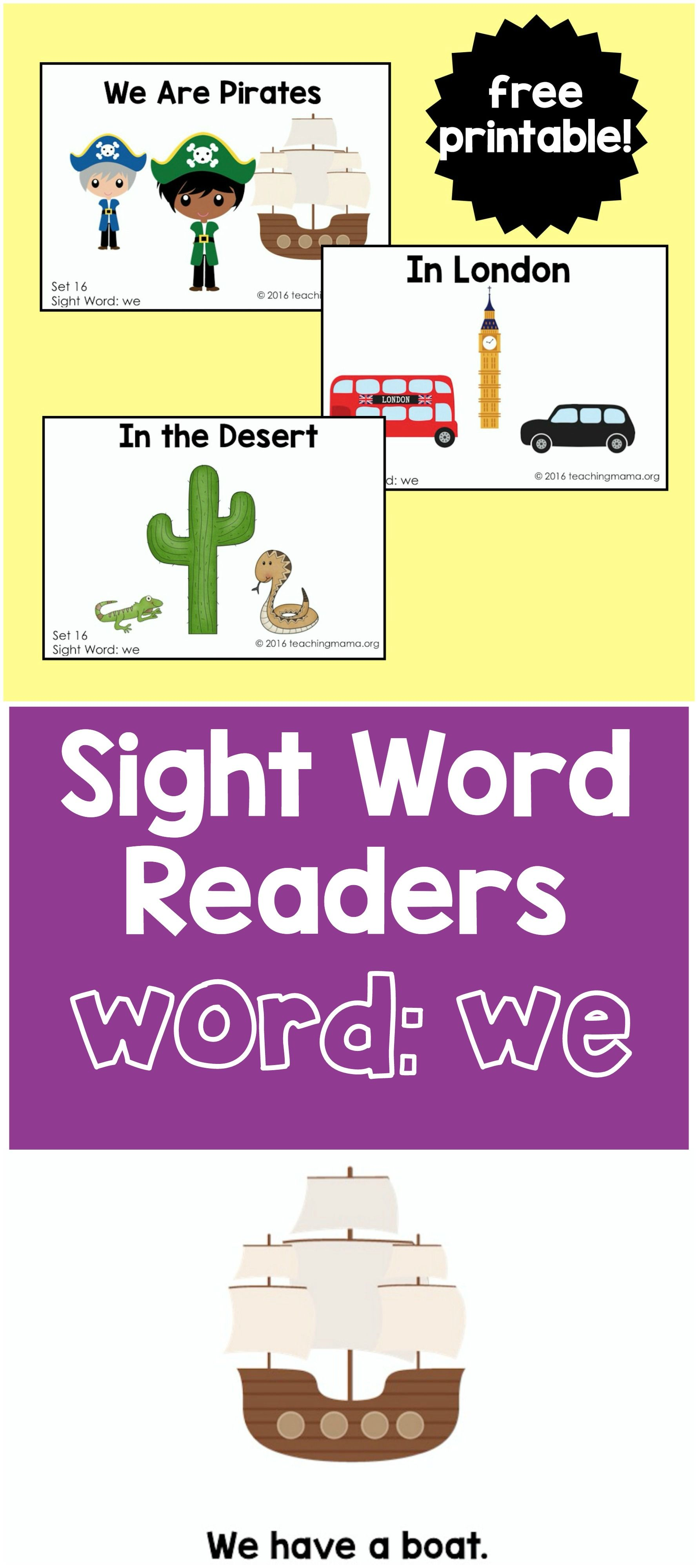 Sight Word Readers For The Word We Alphabet
