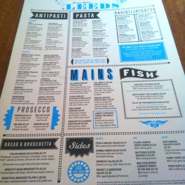 Awesome menu design at Jamieu0027s Italian Books Worth Reading - italian menu