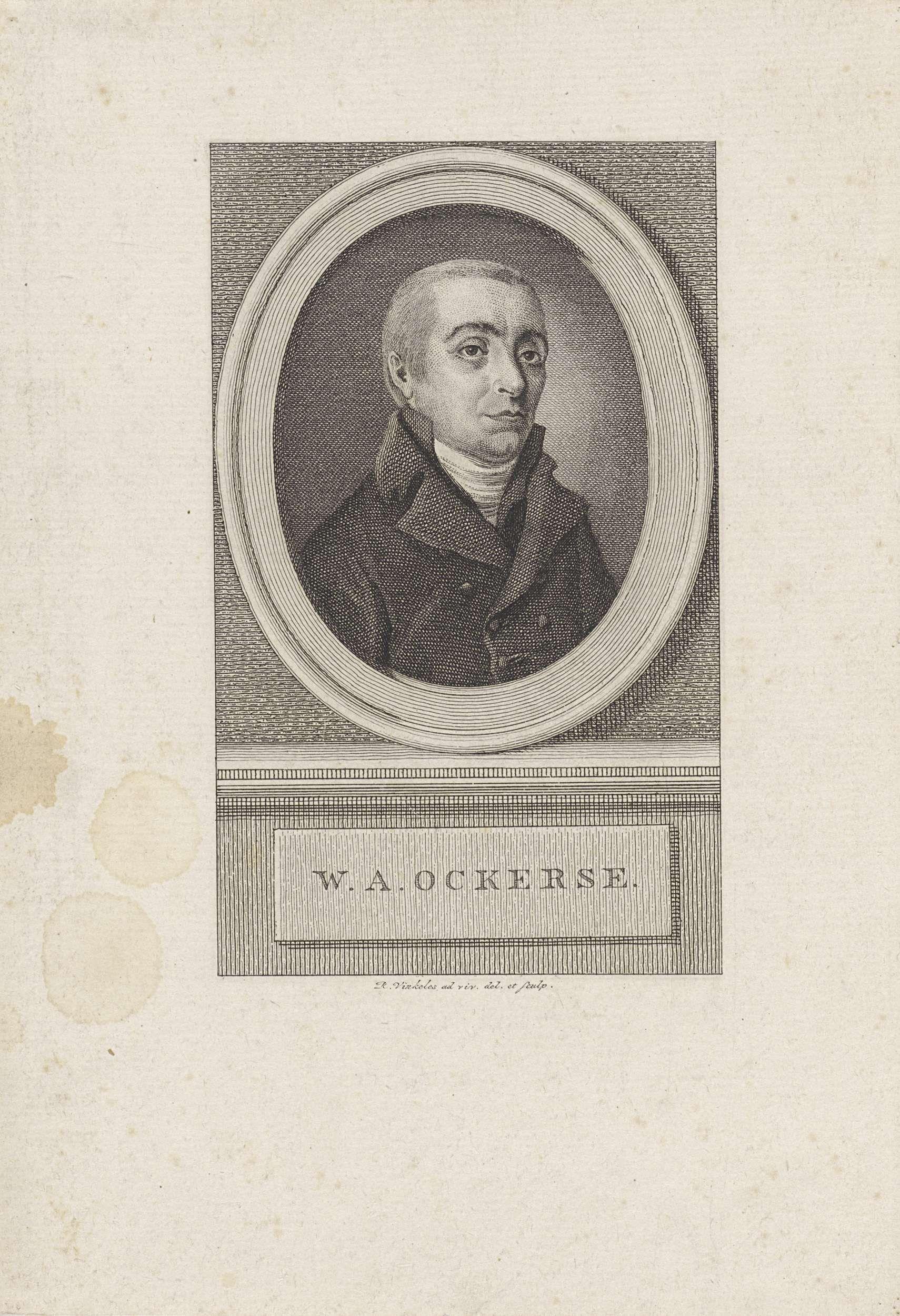 Reinier Vinkeles | Portret van Willem Anthonie Ockerse, Reinier Vinkeles, 1786 - 1809 | Portret van Willem Anthonie Ockerse, letterkundige en predikant.
