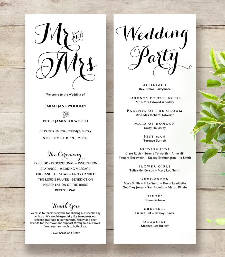 Wedding Invitations And Order Of Service: Byron Printable Wedding Order Of Service Template In 2019