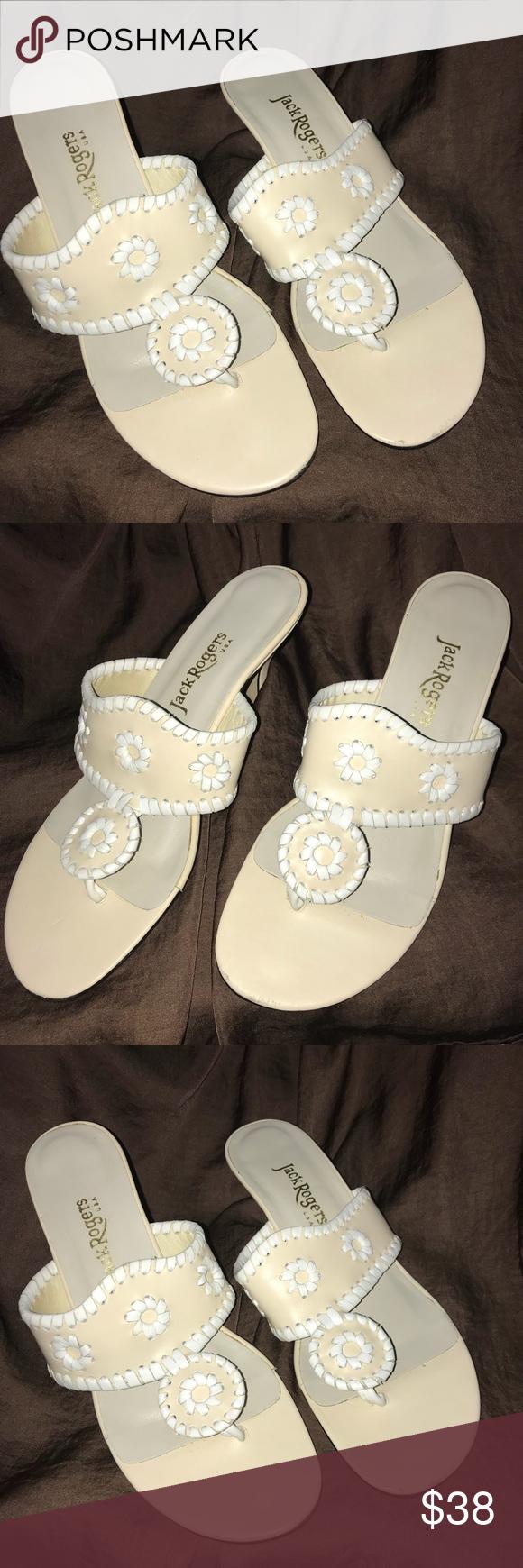 Jack Rogers Kitten Heel Size 6 5 White Cream Kitten Heels Heels Clothes Design