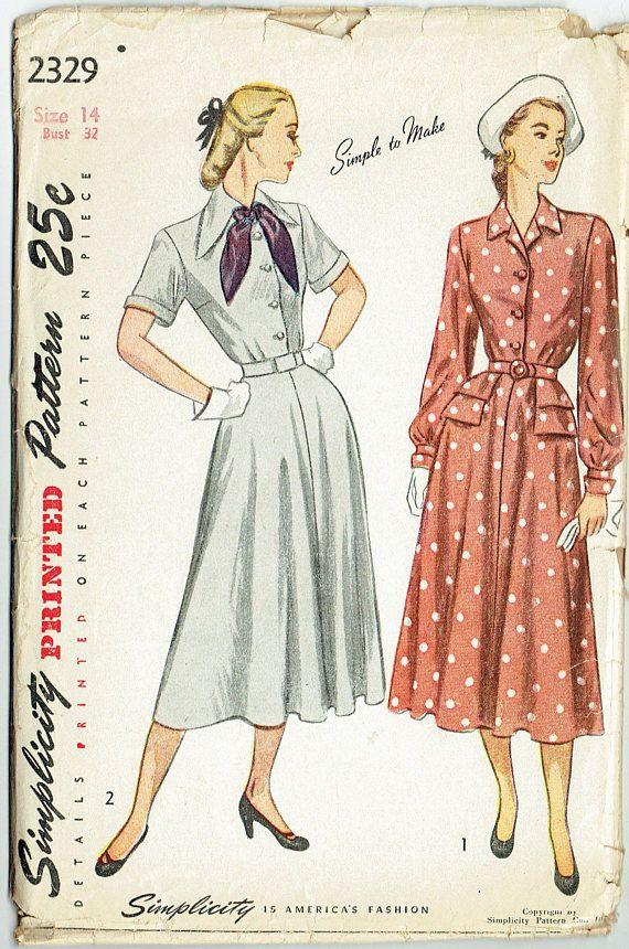 Vintage Sewing Pattern Ladies\' Late 1940s Dress Simplicity 2329 32 ...