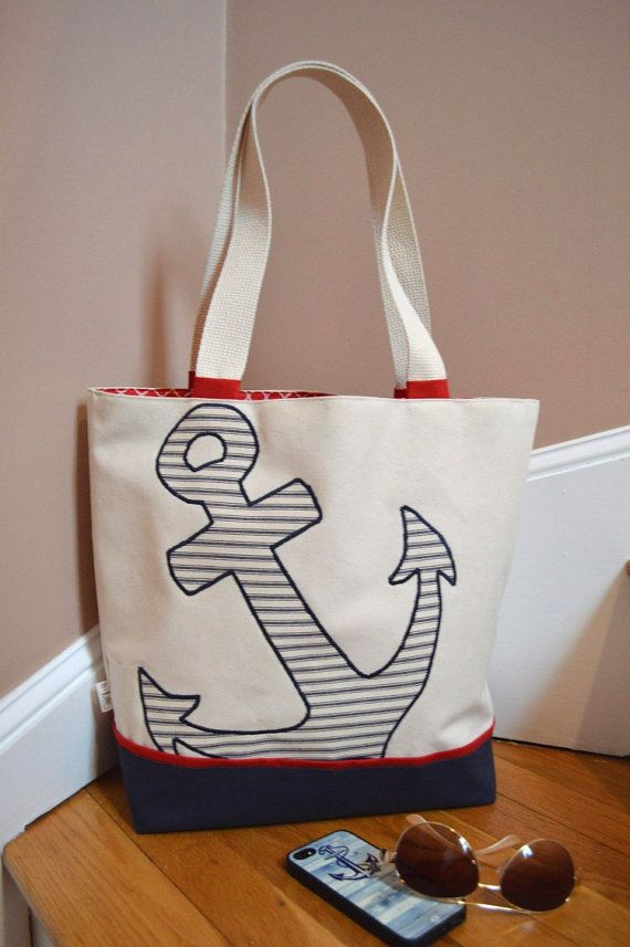 9a1707640f65 Anchor Canvas Bag Nautical Canvas Handbag with Pin by bLifebySonya ...