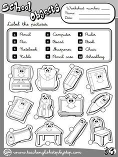 school objects worksheet 1 b w version ingilizce pinterest worksheets school and english. Black Bedroom Furniture Sets. Home Design Ideas