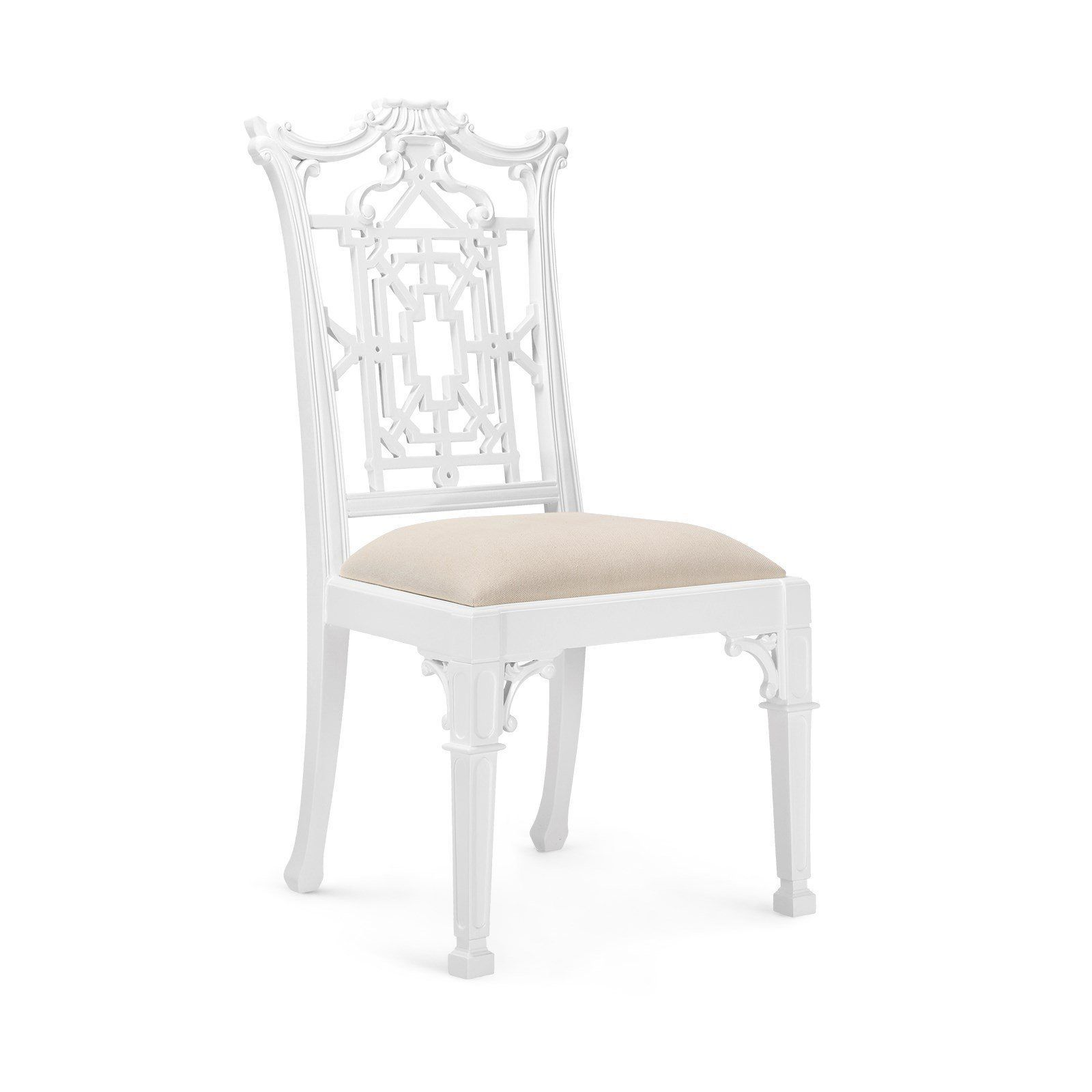 Outstanding Chippendale Side Chair White Lacquer Solid Mahogany Theyellowbook Wood Chair Design Ideas Theyellowbookinfo