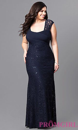 c2d28379c45ae Navy Blue Long Lace Empire-Waist Prom Dress in 2019