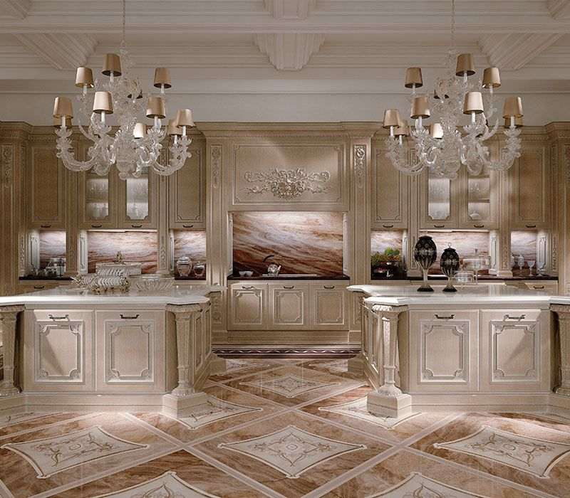 Luxury Home Kitchens: Italian Marble Inlay