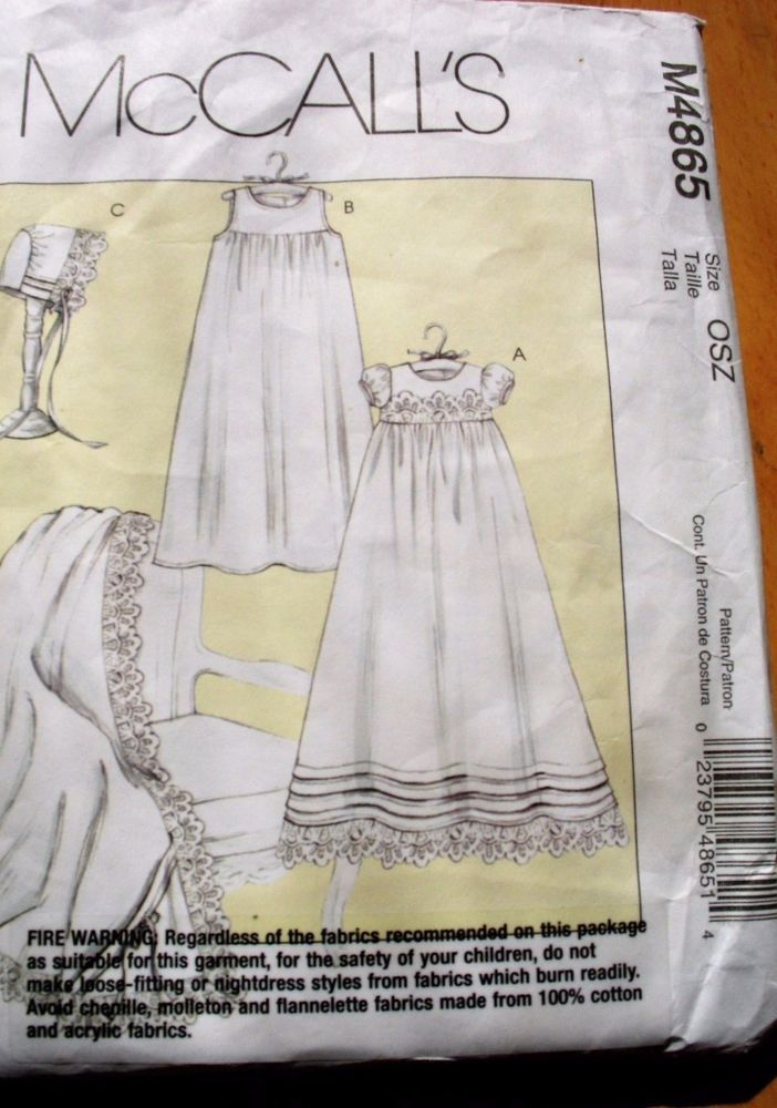 McCall\'s Sewing pattern No. M4865 Babies Christening Gown shawl ...