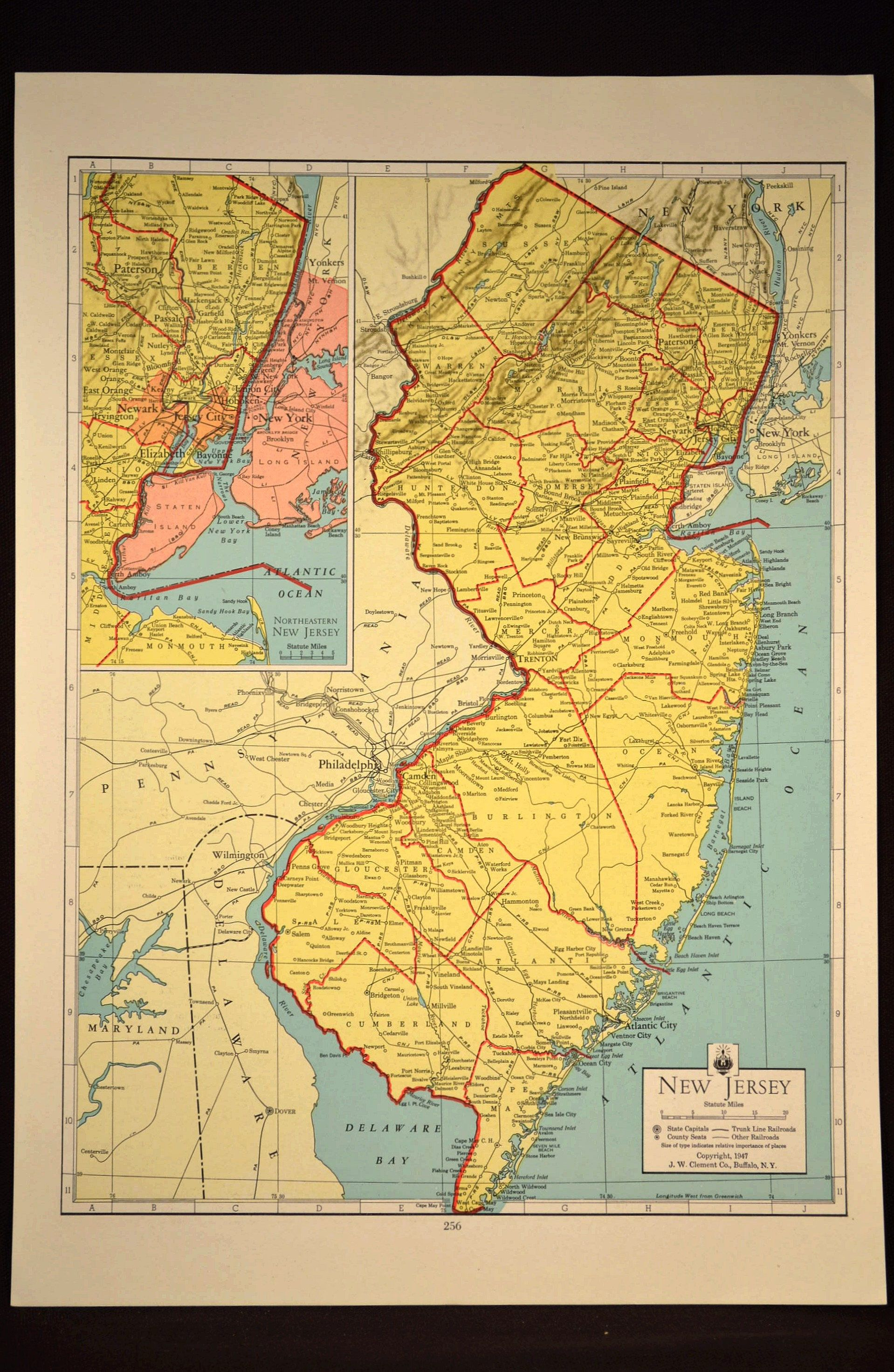 Colorful Yellow Vintage New Jersey Map New Jersey Wall Art | Map ...
