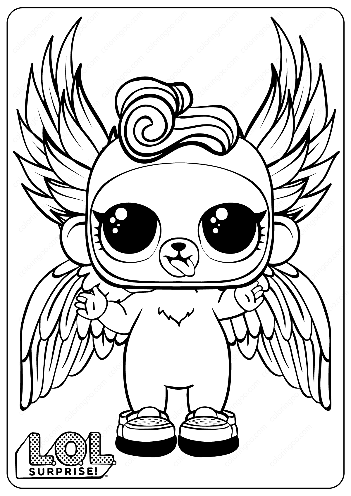 Free Printable LOL Surprise Monkey Coloring Pages  Monkey
